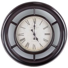 Round Brown Wall Clock with Mirror Accents