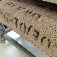 Take an ugly foot stool to FAB chalk paint, burlap and zinc nails savvycityfarmer.com
