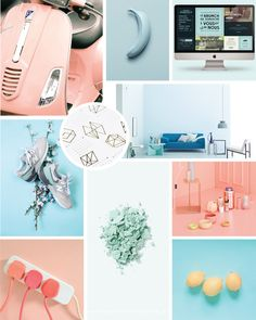 Coral color inspiration for a small business branding project with light blue accents and metallic details.