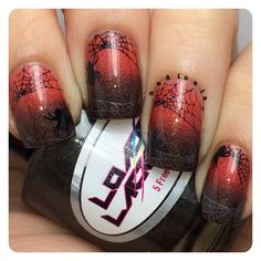 Halloween nails!  Gradient using Loaded Lacquer Condemned and Double Shot of Sriracha stamped using Bundle Monster BM13 in Bundle Monster Noir Black and Iced Silver.