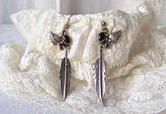 Vintage Black Agate Sterling Silver Dangle Feather Earrings