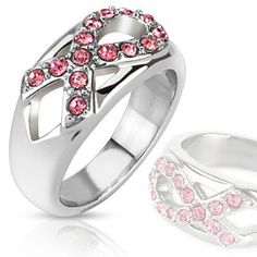 Pink Ribbon Sparkler - Breast Cancer Awareness Symbol with Pink CZ Stainless Steel Ring #FallCollection2013 #BuyBlueSteel