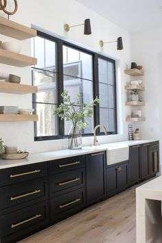 Beautiful Kitchen Cabinet Paint Colors (That Aren't White) – Welsh Design Studio - Painted Colorful Kitchen Cabinets Best Kitchen Cabinet Paint, Black Kitchen Cabinets, Painting Kitchen Cabinets, Black Kitchens, Home Kitchens, Green Cabinets, Dark Cabinets, Kitchen Shelves, Kitchen Countertops