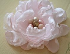 Flower-making tutorial - silky fabrics/lace, curled edges - super easy to get this beautiful look!  *******************************************  The Polka Dot Closet - #diy #fabric #flower #tutorial #crafts - tå√