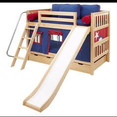 34 Best Loft Bed With Slide Images Bed With Slide Bedroom Kids