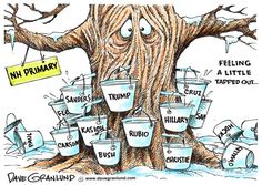 New Hampshire Primary 2016, Dave Granlund,Politicalcartoons.com,gop, republican, democrat, democrats, dems, conservative, liberal, NH, primaries, voters, candidates, campaigns, politics, 2016, Hillary, sanders, cruz, trump, rubio