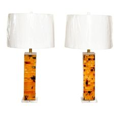 Pair of Lacquered Horn Table Lamps with Lucite Bases