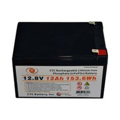 12.8V 12Ah Rechargeable Lithium Iron Phosphate LiFePO4 Battery by CTC. $168.00. NOTE: Lithium Iron Phosphate is non-refundable! For more information please see our Return Policy  Features: Longer battery life - twice to four times the service life of lead-acid batteries High safety features - no explosive gasses Lightweight High-temperature working capability Steady discharge and charge performance Low self discharge with no memory effect Environmentally frien...