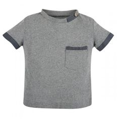 Andy & Evan for Little Gentlemen!   Cotton Tee with Oxford Accents - Tee Time Grey 100% Cotton