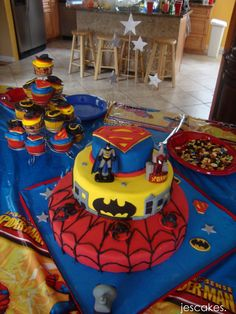 Spiderman/Batman/Superman Birthday Cake