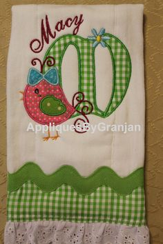 Personalized and appliqued burp cloth for by AppliquesByGranjan
