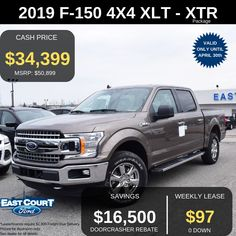 """Stock# 04.10 - 9F1550  $0 down, XTR Package, 2.7L Ecoboost Performance Engine.  XLT Series SuperCrew is Loaded with:  >All season tyres  >18"""" Alloy Wheels (Chrome)  >6"""" Chrome Running Board  >2.7L Ecoboost Engine  >Cruise Control  >Backup CAMERA Ford Employee, Ford F150 Xlt, All Season Tyres, Performance Engines, Car Deals, 2019 Ford, Backup Camera, Cruise Control, Car Ford"""