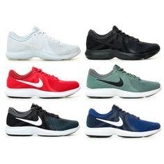 outlet store 525f2 b1b6b Détails sur Nike - Chaussures de course Revolution 4 Homme Blanc Rouge Noir  Vert Bleu Tissu
