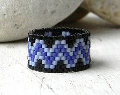 Peyote ring wide band ring delica seed beads di Anabel27shop
