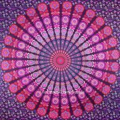 Queen Pink Purple Indian Mandala Throw Tapestry, Dorm Hippie Boho Bedspread