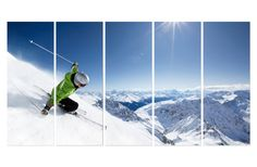 Skiing Downhill Snow Mountain Large Wall Art Decor Fiberboard Print Canvas 5 Panel Set on Etsy, $143.00