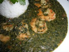 Mulukhiyah with Shrimp ( ملوخية بالجمبري  ) or corchorus soup, the famous egyptian mulukhiyah with shrimps served with white Egyptian rice. YUM!