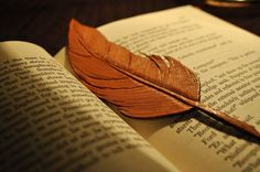 Tooled Leather Feather Bookmark Handmade
