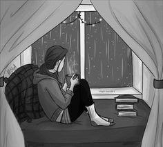 ¿Qué te inspira un día de lluvia? Cuando llueve me dan ganas de encerrarme en casa y leer junto a la ventana. Un pequeño placer.