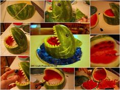 How to make a Watermelon Shark Clean Recipes, Cooking Recipes, Cooking Ideas, Goldfish Party, Luau Theme Party, Shark Party, Flower Lights, Cute Food, Food Art