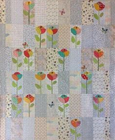 Seedlings Quilt Kit by Laura Heine Interesting pops of color. Cute Quilts, Scrappy Quilts, Quilt Kits, Quilt Blocks, Quilting Projects, Quilting Designs, Low Volume Quilt, Quilt Modernen, Flower Quilts