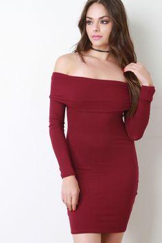 Rib Knit Long Sleeve Bardot Dress