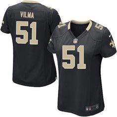 Elite Women's Nike New Orleans Saints #51 Jonathan Vilma Team Color Black NFL Jersey $109.99
