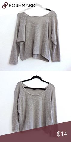 Topshop Grey Sweater Description: comfy loose sweater, pairs well with just about everything Brand: Topshop Size: S Flaws: signs of wear, but no noticeable flaws Topshop Sweaters Crew & Scoop Necks