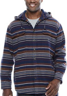 The Foundry Big & Tall Supply Co. Long Sleeve Flannel Hoodie-Big and Tall Mens Big And Tall, Big & Tall, Flannel, Men Sweater, Hoodies, Long Sleeve, Sweaters, Clothes, Fashion