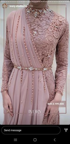 Model Kebaya Modern, Designer Party Wear Dresses, Pearl Design, Brokat, Hijab Dress, Muslim Fashion, Victorian, Dresses With Sleeves, Long Sleeve