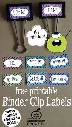 FREE printable binder clip labels for teachers and homeschoolers.