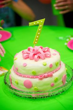 Pink and green polka dot cake!  I'm an amateur... just love baking birthday cakes for my two daughters.  Made with cream cheese frosting and gum paste.
