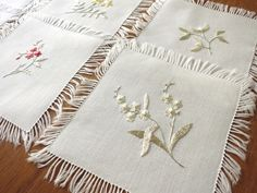 SOCIETY SILK Antique Vtg 6 Hand Embroidered Linen Fringed Cocktail Napkins FINE