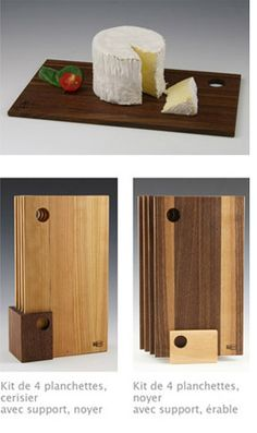 4 wood plates kit for bread and cheese!!   Looks amazing on a dinning table! :)  Made by Le temps des cigales