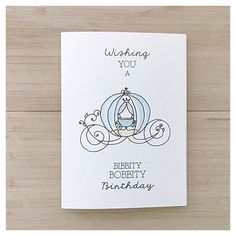 Bibbity Bobbity Birthday // cinderella card, disney princess card, disney birthday card, carriage, cinderella, watercolour cinderella, walt by kenziecardco on Etsy https://www.etsy.com/ca/listing/276045760/bibbity-bobbity-birthday-cinderella-card
