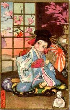 Found in Old Postcards Sofia Chiostri, postcard (Art Deco) Art Painting, Asian Art, Japanese Culture, Illustration, Postcard Art, Postcard, Painting, Art, Geisha Art