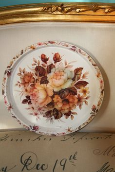Vintage Made in England Round Cream Tray with by mollyarnold, $8.00