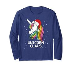 Unisex Funny Cute Christmas Unicorn Claus Santa Long Sleeve Unicorn lovers gifts