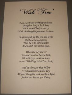 Wedding Wishing Tree Poem Better than a guest book Wedding Wishes, Wedding Gifts, Wedding Stuff, Wedding Bible, Wedding Poems, Wedding Readings, Wedding Cards, Next Wedding, Dream Wedding