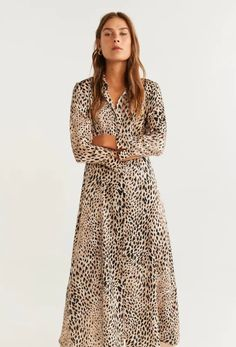 Long design Straight design Shirt-style Leopard print Classic collar Three quarter sleeve Button up Dress Outfits, Cool Outfits, New Designer Dresses, Camisa Formal, Midi Shirt Dress, Estilo Boho, Mango Fashion, Bunt, Printed Shirts