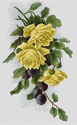 B2230 Yellow roses with plums €15.50  Kit completo de punto de cruz Marca: Luca-S Hilos: Anchor Tela Aida: Zweigart Medidas: 18,5*32,5 cm Colores: 29