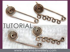 Spiral Safety Pin Tutorial, Wire Jewelry Tutorial, Kilt Pin Brooch Tutorial, Shawl Pin Tutorial, Scarf Pin Pattern, Wire Wrapping Tutorial by JazzieArt