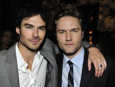 """Ian Somerhalder (""""THE VAMPIRE DIARIES"""") and Scott Porter (""""HART OF DIXIE"""") at The CW Upfront Party - Colicchio & Sons, New York, Thursday, May 17, 2012. Photo: Timothy Kuratek/CW ©2012 CW Broadcasting Inc. All Rights Reserved."""