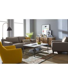 Ticino Leather Ottoman, Only at Macy's - Ottomans & Benches - Furniture - Macy's