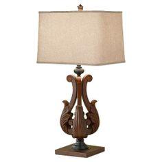 Murray Feiss 10145DAW Fleuron 1 Light Portable Lamp in Dark Aged Wood
