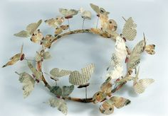 French Script Parchment Paper Butterfly Wreath  Pretty and a tribute to his love of the written word