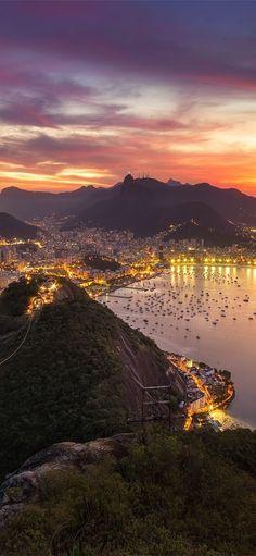 Rio De Janeiro Cityscape Brazil Sunset iPhone X Wallpapers
