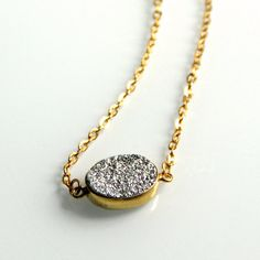 Silver Druzy Necklace  Gold Chain Simple Mixed by rubyskydesign, $44.00