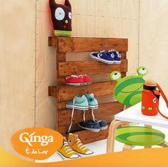 DY - Ideias Ginga para a casa | Suporte para colocar sapatos feito a partir de paletes velhas. Ideal para poupar espaço.  Ginga – a marca da família angolana