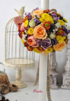 A-lumanare botez baiat, fori in culori de toamna botez, botez ... Crown, Candles, Table Decorations, Center Pieces, Wedding Decor, Festive, Flowers, Garden, Design